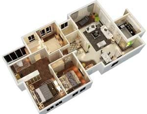 3d floor plan- New york