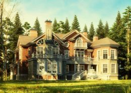 Cottage village 3d rendering