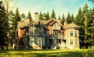 Cottage village 3d rendering