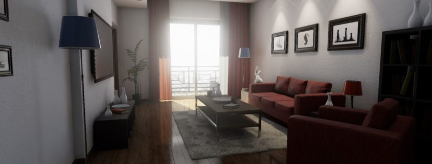 3D visualization of a typical two-bedroom apartment