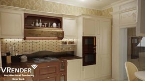 3D visualization of cabinet furniture in the interiors
