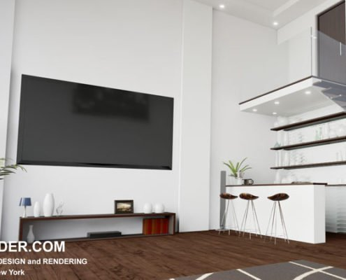 3D visualization of the interior of an apartment in a modern style