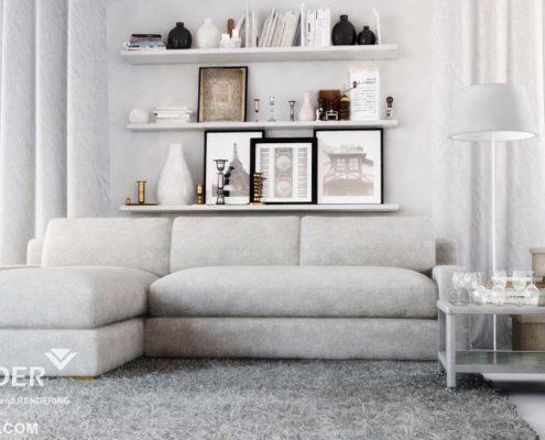 3D interior living room rendering Los Angeles
