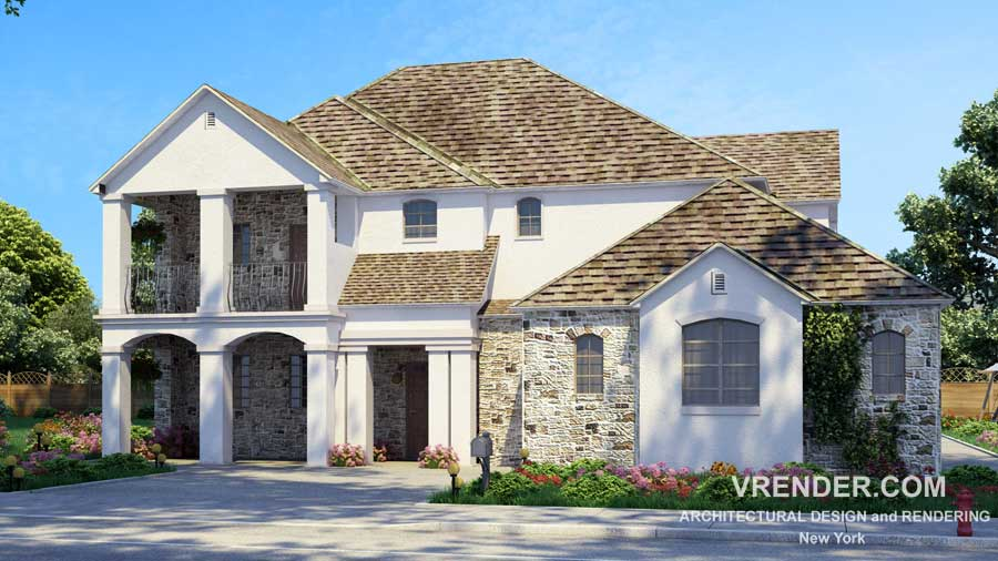 3d architectural rendering services | House Exterior Rendering Vray