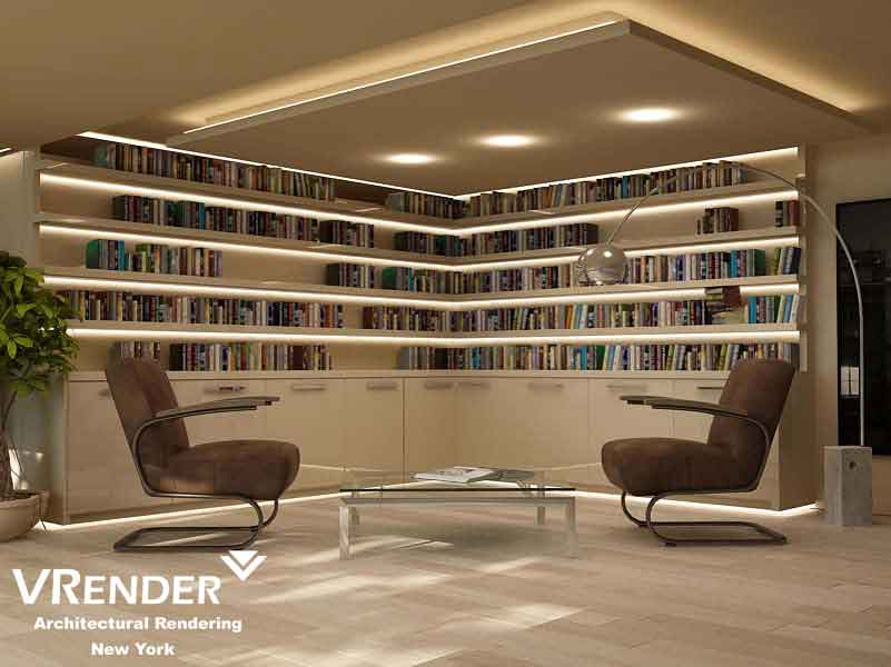3d architectural rendering services. Library Project Seattle