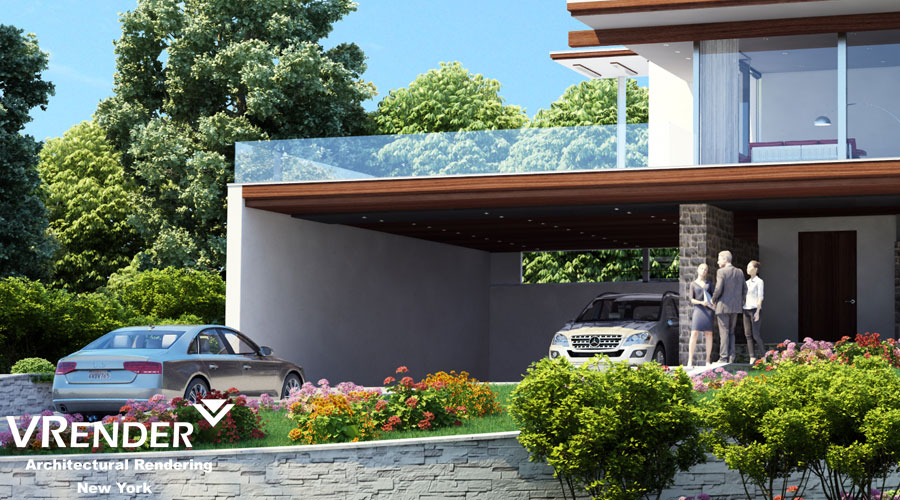 3D Exterior visualization of building in Yonkers New York