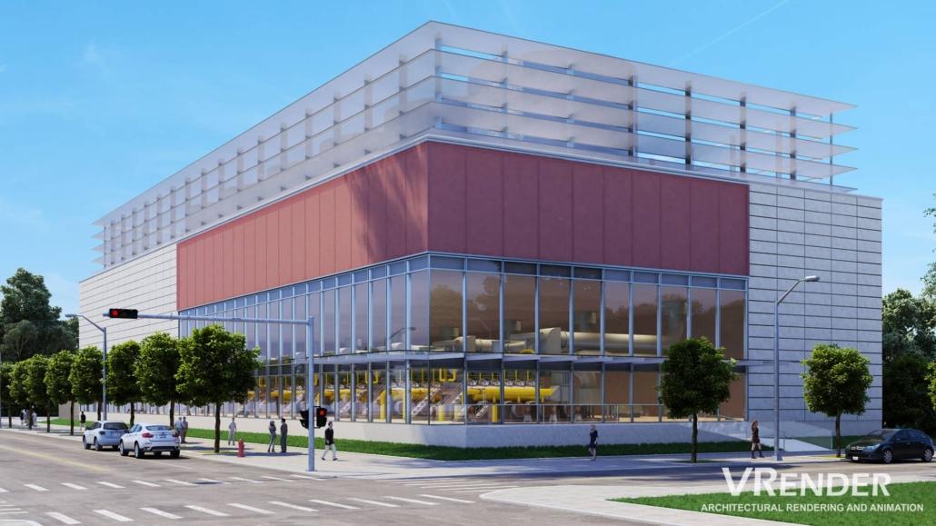 Commercial building 3d rendering services
