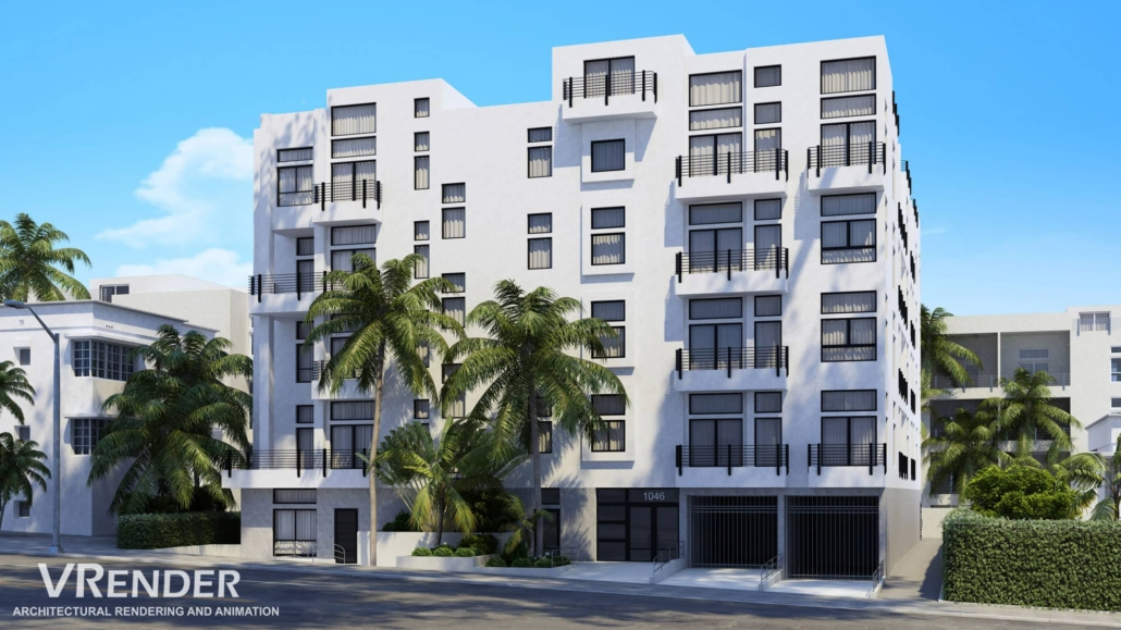 Commercial exterior building rendering service
